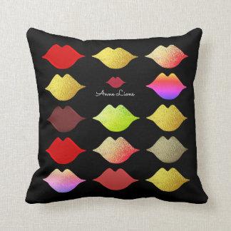 colorful lips . color mouths elegant feminine cushion
