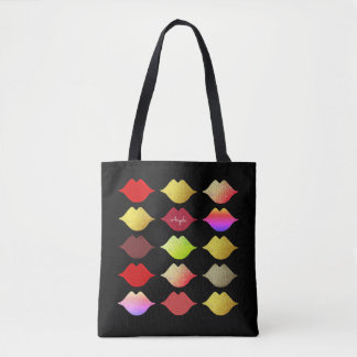 colorful lips . makeup artist beauty black tote bag