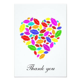 Colorful Lipstick heart - thank you note Card