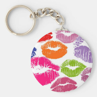 Colorful Lipstick Kisses Lip Color Key Ring