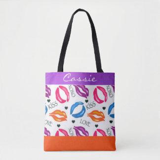 Colorful Lipstick Prints Love Hugs and Kisses Tote Bag