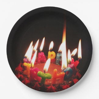 "Colorful, LitC ""Happy Birthday"" Candles, Dark Room Paper Plate"