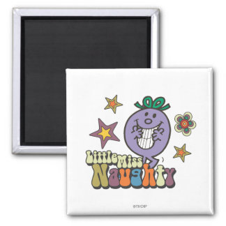 Colorful Little Miss Naughty Square Magnet