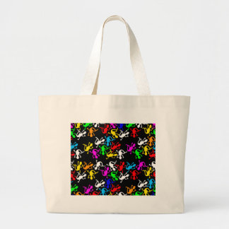 Colorful lizards - pattern large tote bag