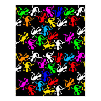 Colorful lizards pattern postcard