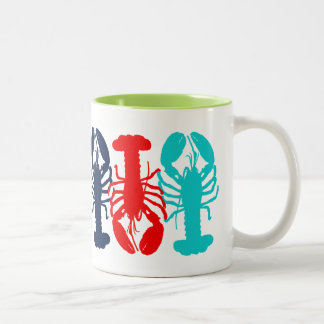 Colorful Lobsters in a Row Two-Tone Coffee Mug