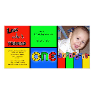 Colorful Look Whos Turning 1 Birthday Invite Personalised Photo Card
