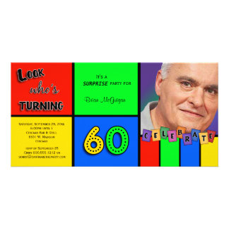 Colorful Look Whos Turning 60 Birthday Invite Photo Card Template