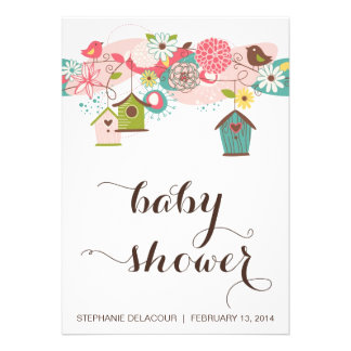 Colorful Love Birds and Bird Houses Baby Shower Announcement