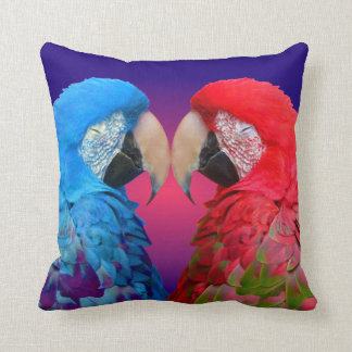 Colorful love birds, macaw or parrot throw pillow