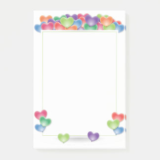 Colorful Love Heart Balloons Frame Post-it Notes