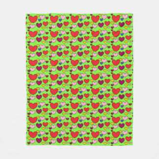 Colorful LOVE Hearts Lime Green Fleece Blanket