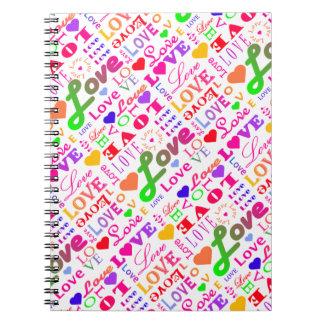 Colorful Love, Love, Love, Love, Love, Love, Love Spiral Notebook