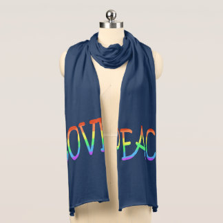Colorful Love Peace Word Jersey Scarf
