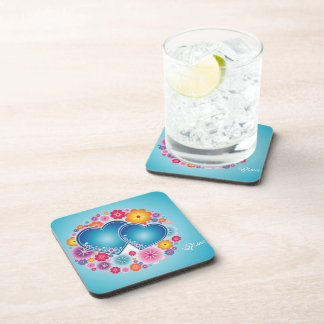 colorful love with hearts and flowers drink coaster