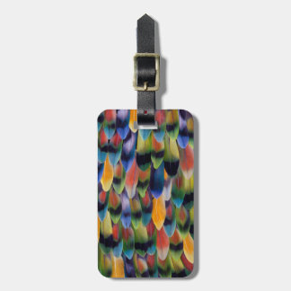 Colorful lovebird parrot feathers bag tag