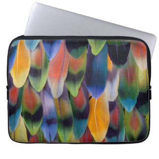 Colorful lovebird parrot feathers laptop sleeve