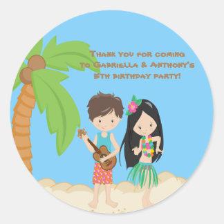 Colorful Luau Hawaiian Kids Thank You Sticker
