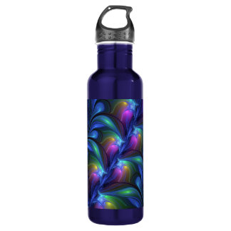 Colorful Luminous Abstract Blue Pink Green Fractal 710 Ml Water Bottle