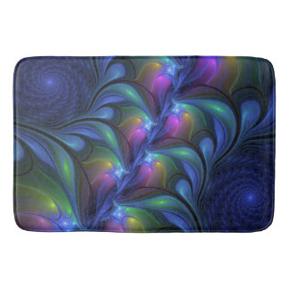 Colorful Luminous Abstract Blue Pink Green Fractal Bath Mat