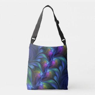 Colorful Luminous Abstract Blue Pink Green Fractal Crossbody Bag