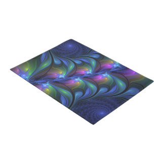 Colorful Luminous Abstract Blue Pink Green Fractal Doormat