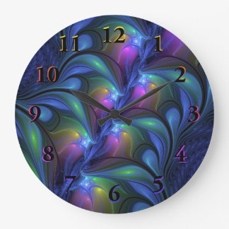 Colorful Luminous Abstract Blue Pink Green Fractal Large Clock