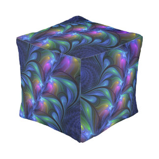 Colorful Luminous Abstract Blue Pink Green Fractal Pouf