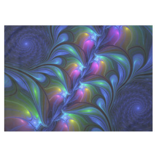 Colorful Luminous Abstract Blue Pink Green Fractal Tablecloth