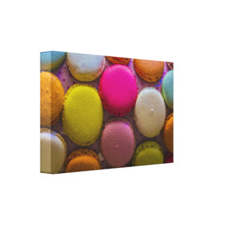 Colorful Macarons Tasty Baked Dessert Canvas Print