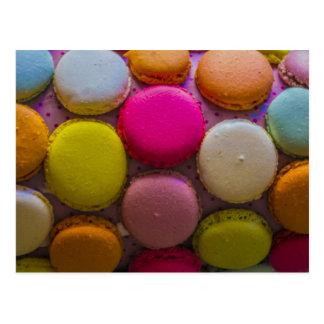 Colorful Macarons Tasty Baked Dessert Postcard