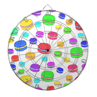 Colorful macaroons dartboard with darts