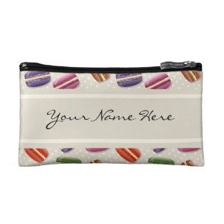 Colorful Macaroons Pattern on Gray with Polka Dots Cosmetic Bags