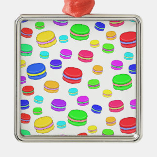 Colorful macaroons Silver-Colored square decoration