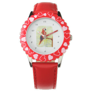 Colorful Macaw Bird Art Wristwatches