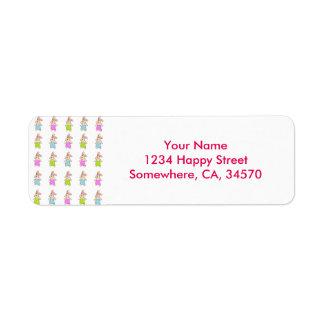 Colorful Maisy Bunnies Pattern Return Address Label