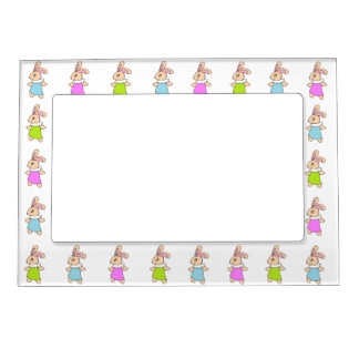 Colorful Maisy Bunnies Pattern Magnetic Frame