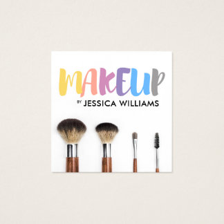 Colorful Makeup Artist Square Business Card