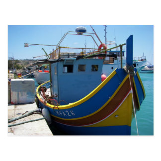 Colorful Maltese Fishing Boat Postcard