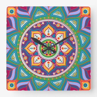 Colorful Mandala Clock