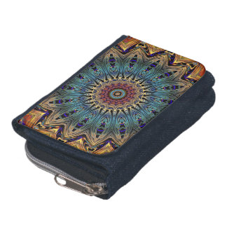 Colorful Mandala Denim Wallet with Coin Purse