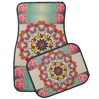 Colorful Mandala Floral Set of Four Car Mats