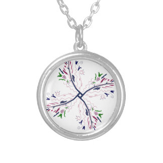 Colorful mandala vanilla silver plated necklace