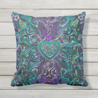 Colorful Mandala With Celtic Heart Outdoor Cushion