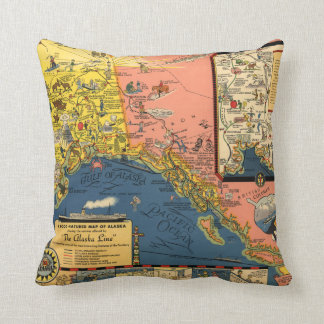 Colorful Map of Alaska from the Past Cushion