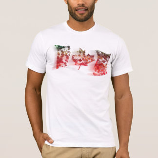 Colorful Maple Leaf Mosaic Waving Canada Flag T-Shirt