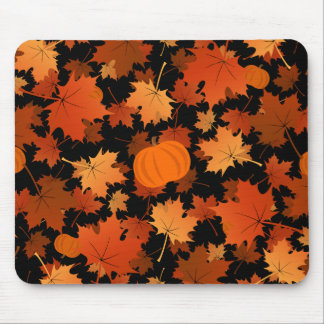 Colorful maple leaves and pumpkins fall pattern mouse pad