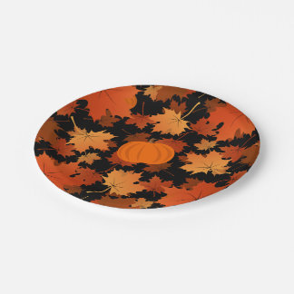 Colorful maple leaves and pumpkins fall pattern paper plate