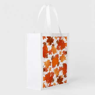 Colorful maple leaves and pumpkins fall pattern reusable grocery bag