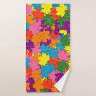 Colorful maple leaves pattern bath towel